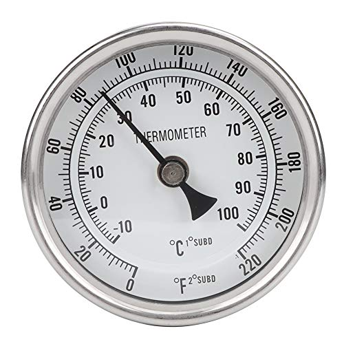 Aiggend Termometro Cerveza, 1/2' NPT Termómetro de Cerveza de Metal de Acero Inoxidable Termómetro de Olla for Preparar Cerveza