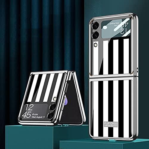 DEMCERT for Samsung Galaxy Z Flip 3 5G Glass Case, Ultra Thin Hard 9H Plating Glass Shockproof Color Stripes Phone Cover for Samsung Galaxy Z Flip 3 5G (Black and White)