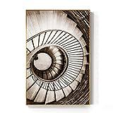 ZYHFBHFBH Cuadro en Lienzo Escalera de Caracol Abstracta Inicio de vórtice Impresión de póster Retro para Sala de Estar Pasillo 40x60 cm (15,7'x23,6) Sin Marco
