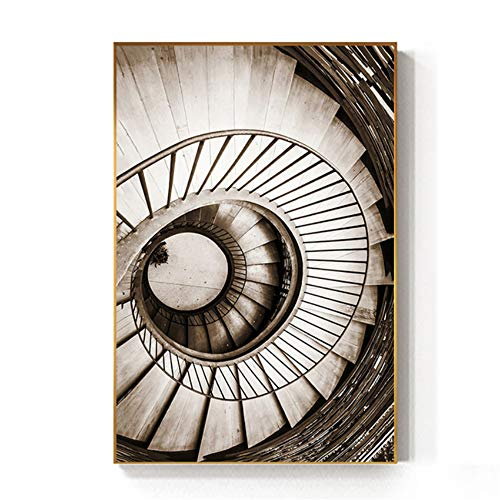 """ZYHFBHFBH Cuadro en Lienzo Escalera de Caracol Abstracta Inicio de vórtice Impresión de póster Retro para Sala de Estar Pasillo 40x60 cm (15,7""""x23,6) Sin Marco"""