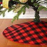 Sattiyrch Buffalo Plaid Christmas Tree Skirt 36 in,Red Black Buffalo Check Christmas Tree ...