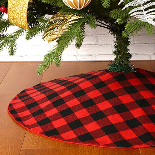 Sattiyrch Buffalo Plaid Christmas Tree Skirt 36 in,Red Black Buffalo Check Christmas Tree Skirt for Holiday Christmas Decorations (36in, Red and Black)