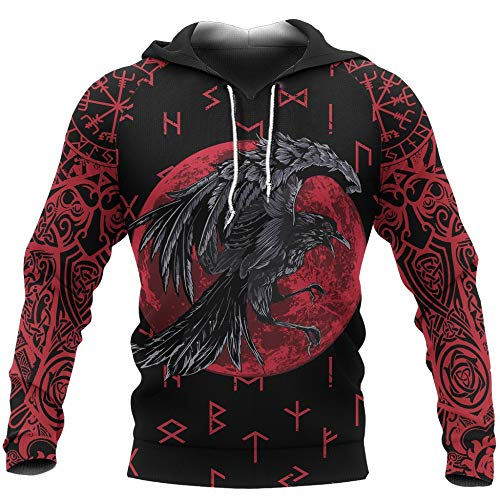 WLXW Herren Viking Hoodie, Nordic Odin Crow Tattoo 3D-Druck Sweatshirt, Vintage Heidnische Kleidung, Herbst Langarm Harajuku Street Pullover,Hoodie,L