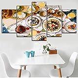 Wflwlhh 5 piezas carteles e impresiones sobre lienzo moderno postre tienda o cocina arte decorativo lienzo pintura té leche fruta y huevo tipo gofres
