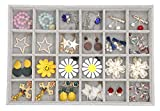 Outdoorfly Velvet Stackable 24 Grid Jewelry Organizer Tray Display Removable for Drawers Jewelry Storage Showcase (24 Grid)