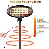2Kw Outdoor Freestanding Electric Quartz Bulb Garden Patio Heaters - 3 Power Settings - Adjustable Heat Angle And Height Adjustable Stand