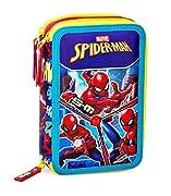 Marvel Spiderman XL Astuccio a Scompartimenti, 44-teilig Dimensioni: circa 20 x 12,5 x 6,5 cm, Peso: circa 500 G + con ricco ripieno, 18 pastelli, 18 penne in fibra, 2 penne a sfera, 2 matite, 1 temperino, 1 gomma, 1 righello, 1 forbice per bambini T...