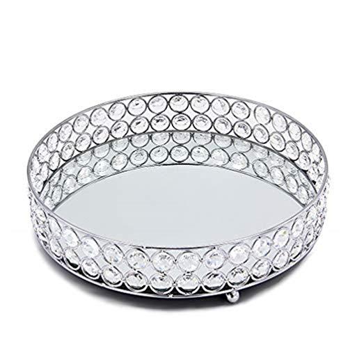 Zaoyun Kosmetiktablett Silber Tablett Jewelry Organizer Kristall Kosmetikorganizer Dekoratives Tablett Spiegeltablett (30cm,Silber)