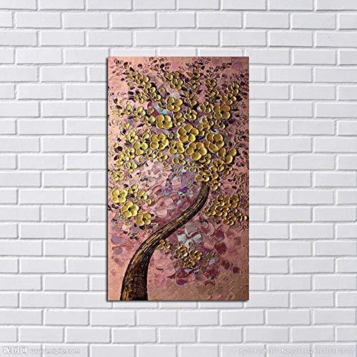 MAOYYM1 Handgeschilderd Abstract Geld Boom Olie Schilderijen Op Doek Gouden Boom Roze Achtergrond Muur Foto Modern Decor Art Geen Inlijsten (alleen doek) 40X72Inch roze