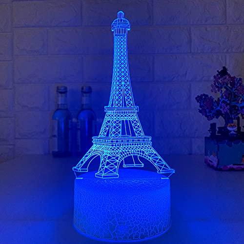 3d Torre Eiffel LED Luz De Noche,Control Táctil 16 Colores Cambiando Lámpara De Mesa,USB Alimentada Noche Deco Lámpara Para Decoración Del Hogar Regalo De Cumpleaños-Control remoto de 16 colores