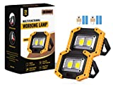 2-Pack LED Floodlight Rechargeable, Work Lights Portable 30W with USB, Spotlight Waterproof Outdoor for Car Repairing, Fishing, Camping, Hiking, Emergency Security Lights, 3 Modes
