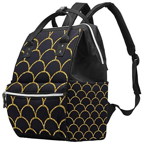 Mochila multifunción grande para pañales de bebé, bolsa de pañales con bolsa de agua aislada para botella de agua, mochila de viaje para mamá y papá, con purpurina y diseño de cola de sirena sin costuras