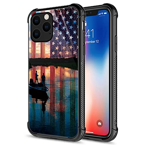 CARLOCA Compatible with iPhone 13 Pro Case,Fishing Red USA Flag Graphic Design Shockproof Anti-Scratch Drop Protection Case for Apple iPhone 13 Pro