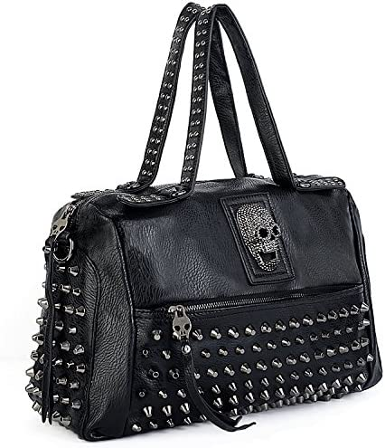 UTO Women Skull Tote Bag Rivet Studded Handbag PU Leather Purse Shoulder Bags 385C product image
