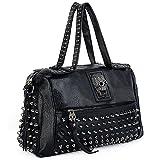 UTO Women Skull Tote Bag Rivet Studded Handbag PU Leather Purse Shoulder Bags 385C