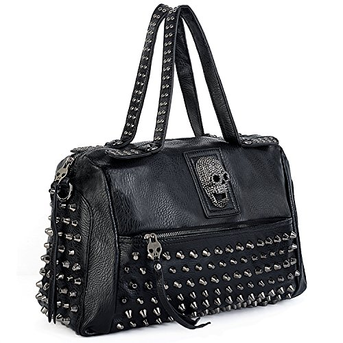 UTO Women Skull Tote Bag Rivet Studded Handbag PU Leather Purse Shoulder Bags 385C