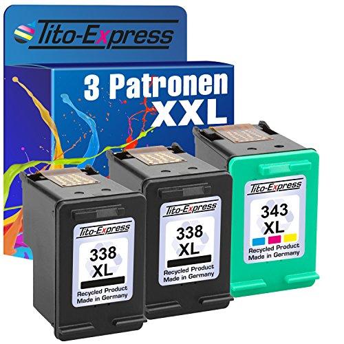 Tito-Express PlatinumSerie Set 3X Druckerpatrone für HP 338XL & HP 343XL Photosmart C3180 C3125 C3135 C3140 C3150