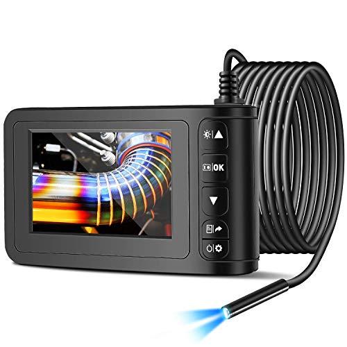 Facamword Endoscopio Industriale Telecamera di Ispezione Schermo a Colori da 4,3  1080P 8mm Boroscopio Professionale IP67 con 6 luci a LED,Scheda TF da 16 GB (5 m 16,4 Piedi)