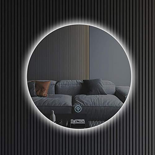 Espejo De Baño Led para Montaje En Pared, Círculo Iluminado, Espejo De Tocador para Baño con 3 Colores De Luz/Almohadilla Térmica Antivaho/Función De Atenuación/Interruptor Táctil del Sensor