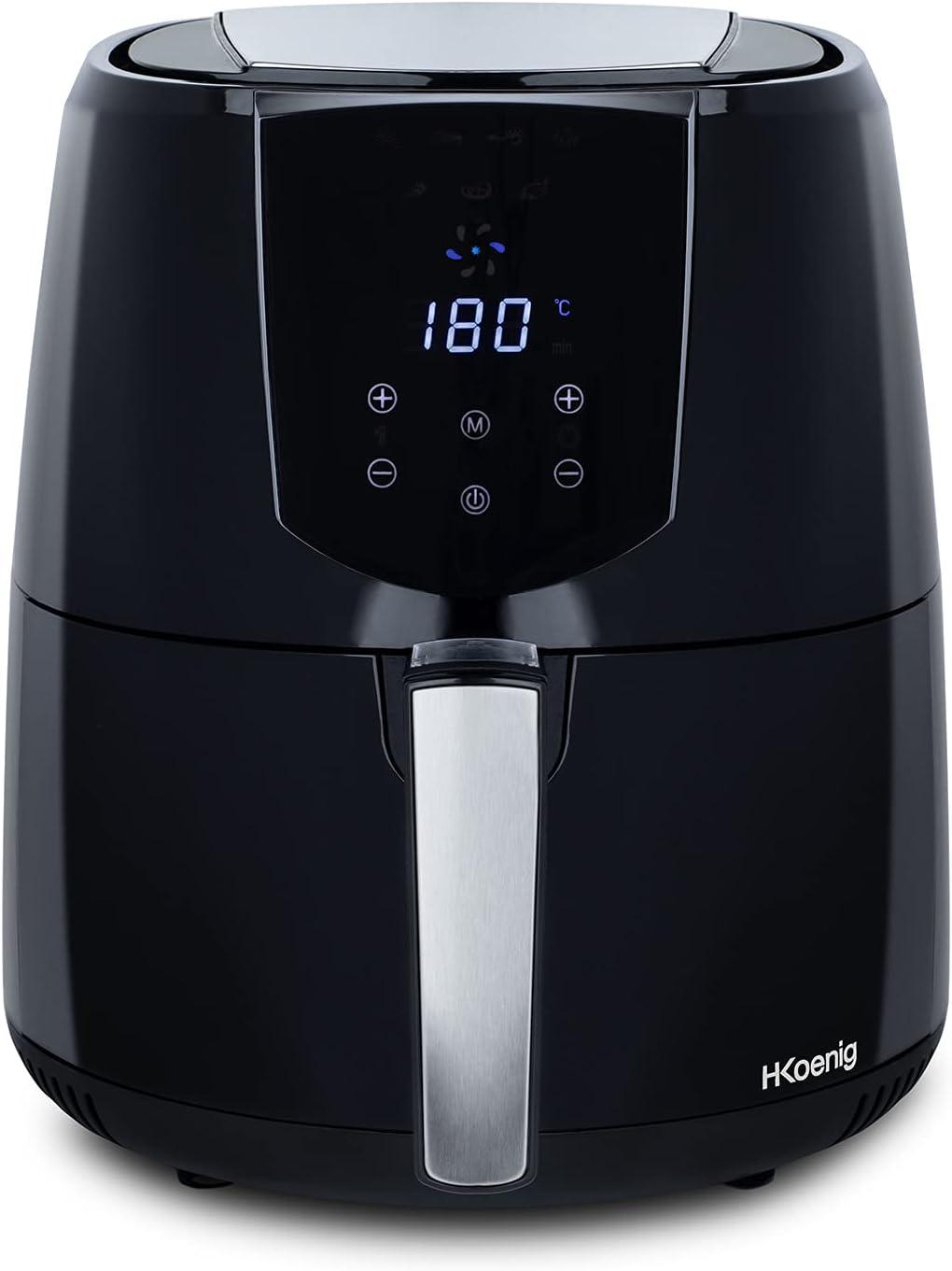 H.Koenig FRY800 Freidora Sin Aceite, Freidora de aire, Capacidad 4L, 7 Programas, 1400 W, Temperatura Regulable hasta 200 °C, Temporizador 60 Mins, Pantalla LCD, Tamaño Compacto, Acero Inoxidable