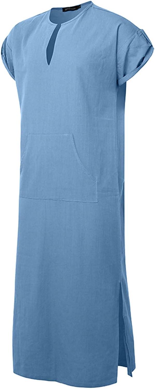 Jacansi Mens V-neck Short Sleeve Home Robe Side Split Kaftan Cotton Long Gown Thobe
