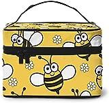Yellow Bee Honeycomb Cute (2) Diseño grande bolsa de maquillaje para mujer, portátil, organizador de viaje con cremallera de malla cepillo de bolsillo con asa chica