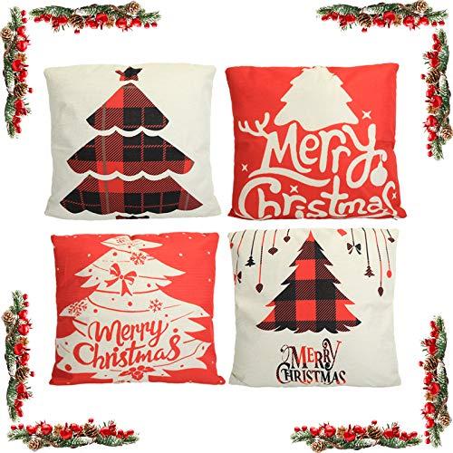 KATELUO 4 pcs Fundas navideñas para Cojines,Funda de Almohada de Navidad,Cojines Navideños Funda de Almohada,para sofá de decoración navideña, Cama.45 cm x 45 cm.