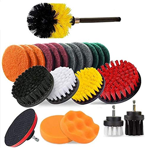 Drill Brush Attachment Set of 23, Universal Scrub Brushes Power Scrubber with Scouring Pads Comlete Extended Cleaning Brush Time-Saving & Labor-Saving for Bathroom, Grout, Floor, Tub, Shower, Tile