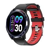novasmart - Reloj inteligente runR IV con correa inteligente y pantalla en color, con registro de frecuencia cardíaca y presión arterial, contador de calorías y pasos, y control del sueño, negro/rojo