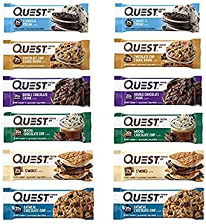 Quest Nutrition Protein Bar Fan Favorite's Variety Pack. Low Carb Meal Replacement Bar with Over 20 gram Protein. High Fiber, Gluten-Free (24 Count)