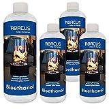 ABACUS 4 x 1 litro de bioetanol (7705) – Combustible para lámparas de bioetanol para la chimenea de mesa