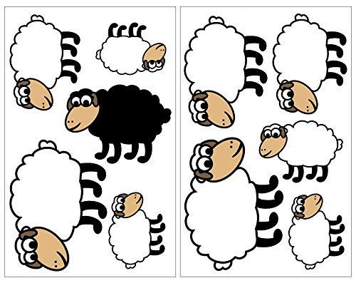 Samunshi® 10-teiliges Süße Schafe Wandtattoo Set Kinderzimmer Babyzimmer in 5 Größen (2x16x26cm Mehrfarbig)