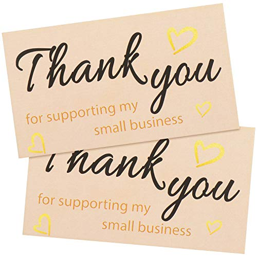 200 Pieces Thank You For Supporting My Small Business Cards Small Online Business Package Insert with Hearts Pattern, 2 x...