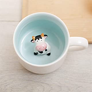 Surprise 3D Coffee Mug Animal Inside 12 oz with Cow,Cute Cartoon Handmade Ceramics Cup,Christmas,Birthday Surprise for Fri...