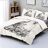 Juego de funda nórdica, dibujo monocromático dibujado a mano de un patrón de tatuaje canino aullante, ilustración decorativa, juego de cama decorativo de 3 piezas con 2 fundas de almohada, negro, gris