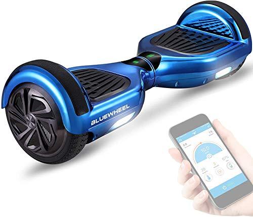 Gyropode Bluewheel HX310s Smart APP Self Balance Scooter Board, Marque Allemande avec Norme UL2272, Mode sécurité Enfant, Skateboard électrique, Bluetooth (Carbon) (Blue Chrome)