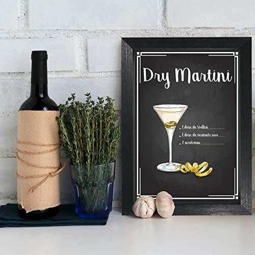 Quadro Decorativo Bebida Martini 22x32cm Moldura Preta