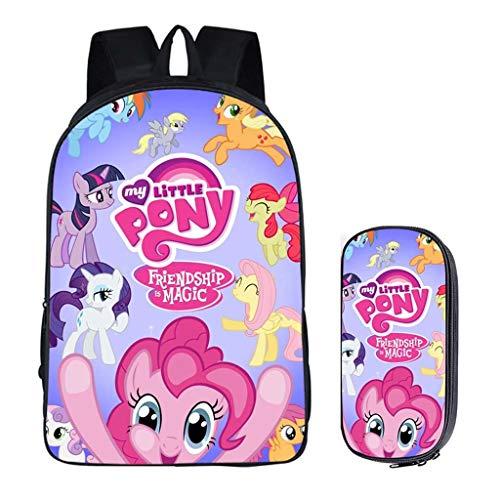 LLYDIANJunior Backpack for Kids 3D My Little Pony:Friendship Is Magic Kids School Backpack, Three-piece Children's Backpack shoulder bag pencil bag Book Bag Kids Laptop Rucksack ,Student bag waterproo