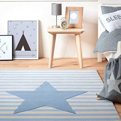 bellybutton My Little Star Moderner Markenteppich, Neuseelandwolle, Blau, 100 x 60 x 1 cm