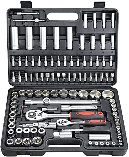 Estuche de herramientas 1/4' y 1/2' carracas, llaves, vasos, puntas, adaptadores 108 piezas