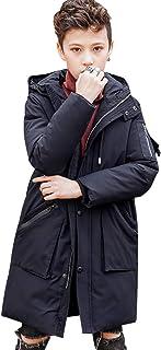 amropi Bambini Ragazzi Medio-Lungo Cappuccio Giacca Eskimo Cappotto Inverno Caldo Outwear per 7-13 Anni