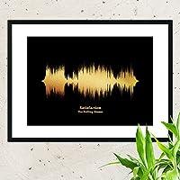 Questa stampa artistica è il risultato della trasformazione dell'onda sonora di una canzone o di un brano musicale in un'immagine È una ottima idea per un regalo che ricordi una canzone che è qualcosa di speciale per te e qualcuno di importante nella...