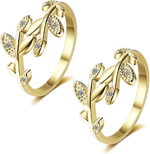 ADICOM Grow Through What You Go Through Adjustable Leaf Ring, 2pcs Adjustable Leaf Ring Open Ring for Girl Women (2Gold)