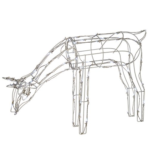 WeRChristmas Pre-Lit 3D Twinkling Reindeer Christmas Decoration with 80-LED, 68 cm - Large, White