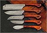 Damascus Custom Handmade kitchen knives/Steak knives Set for Camping and B.B.Q USE Outdoor <span class='highlight'>Tool</span>s with Pakka Wood Handle,