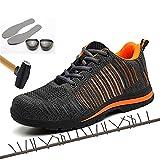 TNM Chaussure de Sécurité, Baskets Embout Acier Respirant Chaussures de Chaussures de Travail et randonnée, Anti-Perforation Sneakers (36-48),Orange,40