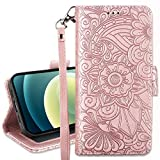 Petocase Compatible with iPhone 12 Pro iPhone 12 Wallet Case 6.1 Inch Released in 2020,Embossed Mandala Floral Leather Folio Flip Wristlet Shockproof Protective Card Holder Detachable Cover-Rose Gold