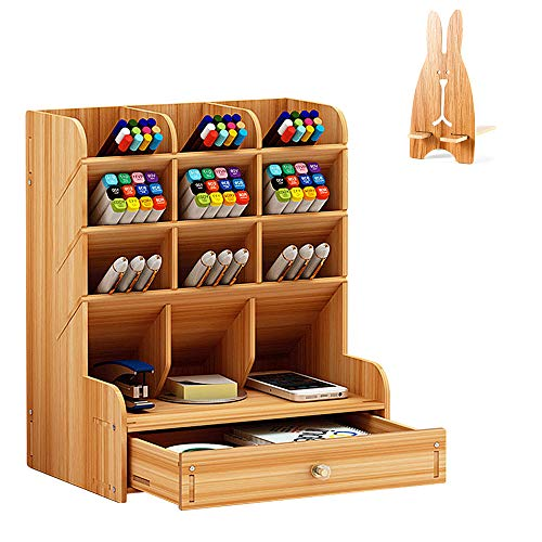 Wooden Desk Top Organizer Office Stationery Pencil Holder Home Makeup Tidy Pen Storage Case Container with Phone Holder (Khaki)