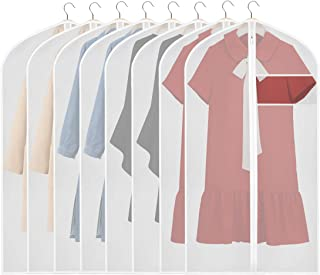 KEEGH Hanging Garment Covers Bag Lightweight 43 inches Suit Protector Bags (Set of 8) PEVA Moth-Proof Breathable Dust Cover for Closet Clothes Storage