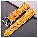 LJGYX Correa Cowhide Wamkband Cocodrilo Patrón de Cocodrilo Mujeres 20mm 22mm 24mm 5 Colores Reloj Correa con cinturón de muñeca de Acero Negro de Plata Durable y Hermoso.
